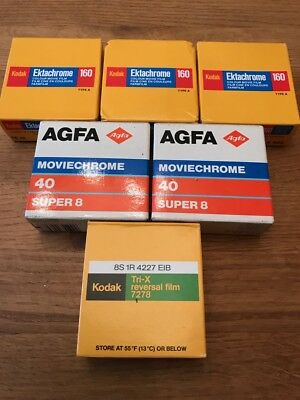 Job lot of EXPIRED Super 8 Film-3 x Ektachrome 160, 2 x Agfa 40, 1 x Tri-X 7278
