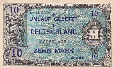 *Germany Allied Occupation Military Banknote 10 Mark 1944 P-194 VF Arms