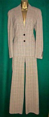 New Ladies KAREN MILLEN Beige Tweed Check Uk14 Jacket /Uk12 Trousers *FULL SUIT*