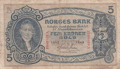*Kingdom of Norway Banknote 5 Kroner 1943 P-7 VG Wilhelm Frimann