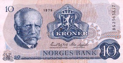 *Kingdom of Norway Banknote 10 Kroner 1979 P-36 VF Fridtjof Nansen