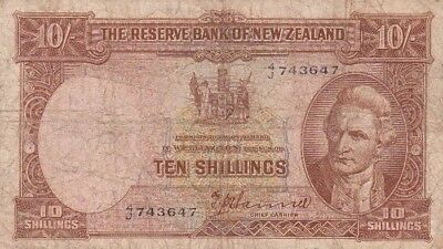 *The Reserve Bank of New Zealand Banknote 10 Shillings 1940 P-158 VG Captain Jam