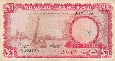 *The Gambia Currency Board Banknote 1 Pound 1965 P-2 AF 1st Issue