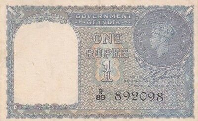 *British Government of India Banknote 1 Rupee 1940 P-25 AF George VI