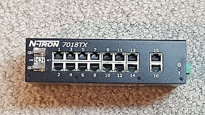 N-TRON 7018TX Industrial Ethernet Switch, 16 Port, DC Supply, DIN Rail Mount