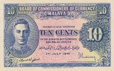 *Malaya and Straits Settlement Banknote 10 Cents 1941 P-8 AUNC George VI