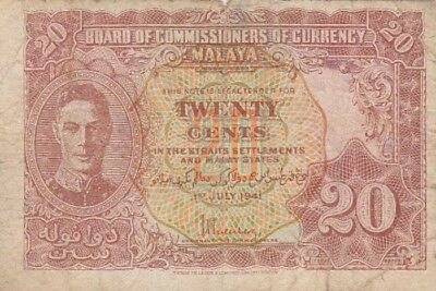 *Malaya and Straits Settlement Banknote 20 Cents 1941 P-9 VG George VI