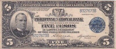 *Philippine National Bank Banknote 5 Pesos 1921 P-53 AF Prs. William McKinley