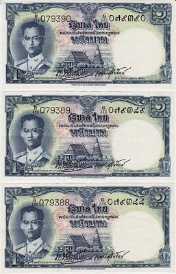 *Kingdom of Thailand Banknote 3 x 1 Baht Consecutive 1954 P-74 UNC King Rama IX