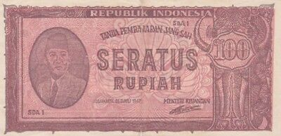 *Republik Indonesia Banknote 100 Rupiah 1947 P-29 AF Prs. Achmed Sukarno