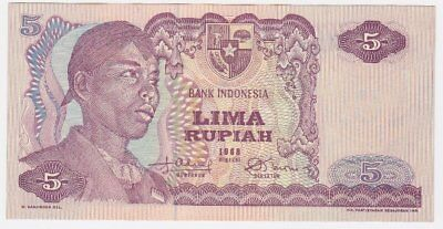 *Bank Indonesia Banknote 5 Lima Rupiah 1968 P-104 UNC General Sudirman