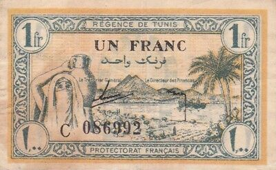 *French Regence De Tunisia Banknote 1 Franc 1943 P-55 VF Tunis