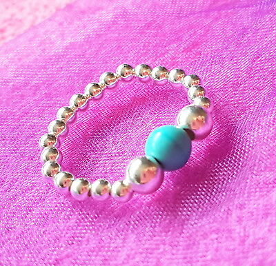 925 sterling silver turquoise ball bead ring various designs gemstone charm new
