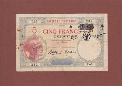 *Djibouti French Somaliland Banknote 5 Francs 1943 P-11 AF Provisional Issue