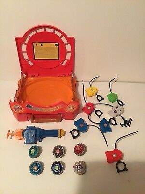 Beyblade Metal Fusion Carry Case Arena Stadium Bundle with 6 Beyblades Plus More