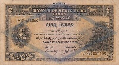 *Bank Syria and Lebanon Banknote 5 Lira 1939 P-41 AF Beyrouth