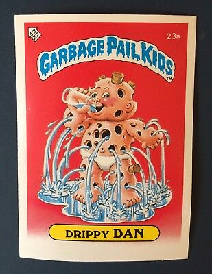 Drippy Dan 23a ~ Garbage Pail Kids (1985) UK 1st Series Sticker/1980's/Vintage