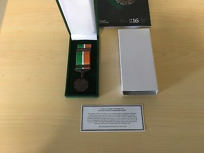 Irish Defence Forces Commemorative 1916 Medal, Ribbon, Box...army badge eire