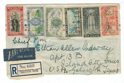 New Zealand 1946 Registered Cover with 9 Peace Stamps to USA 4s6d Air Rate