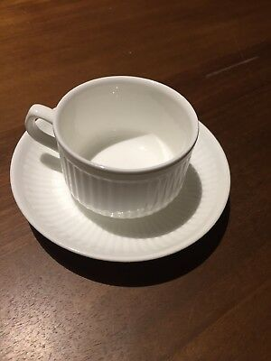 Wedgewood tea cup and saucer ribbed white bone China