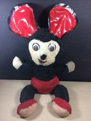 Antique Vintage Early Ganz Bros Canada Mouse Red Black Stuffed Plush Vinyl Ears