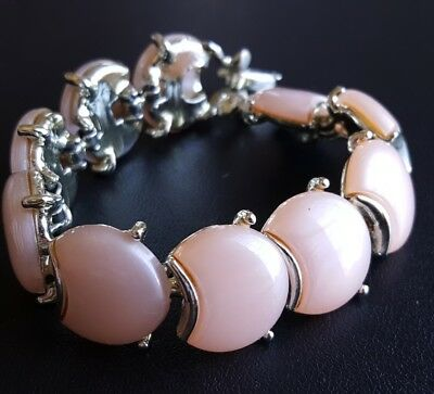 Vintage Pink Thermoset Bracelet Chunky Statement Retro X212