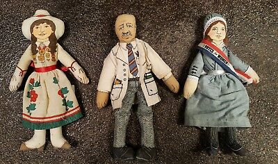 LOT of 3 VINTAGE 1979 HALLMARK COLLECTIBLE DOLLS FAMOUS AMERICANS SERIES