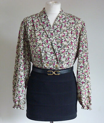 Vintage 1940s Inspired WWII Revival Multi Ditsy Floral Print Shirt/Blouse 12/M