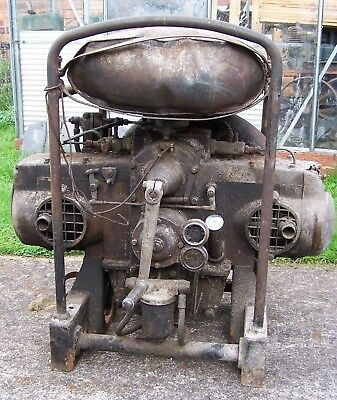 Enfield flat twin diesel stationary engine vintage air cooled marine