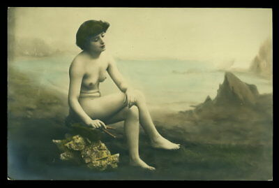 Vintage NUDE RPPC Postcard 1900s-1910s Risque Beauty HAND TINTED