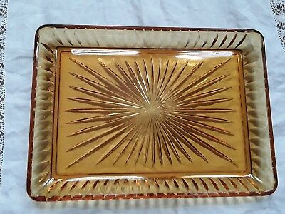 Amber glass vanity tray for dressing table