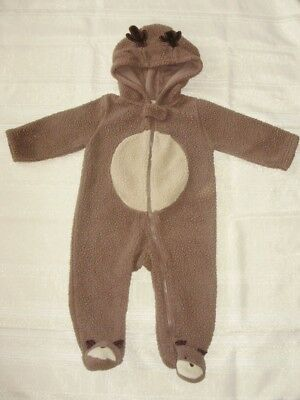Carter's Reindeer Sherpa Brown Bunting Snow Suit Outerwear 9 Months