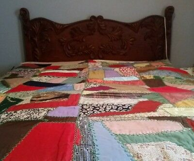 """Vintage Silk Crazy Quilt Antique Hand Stitched Embroidered 72"""" x 58"""" Full Size"""