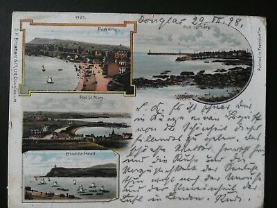 Port st.Mary postcard I.O.M. dated July 1898 Interesting stamps, marks etc.