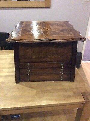 Antique Wooden Sewing  Box Jewellery Box Interesting Box