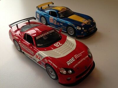 2x SCALEXTRIC CARS - RED & BLUE DODGE VIPERS