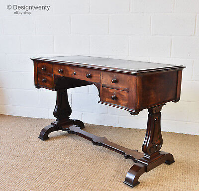 Antique William Iv Mahogany Writing Desk Leather Inset Hall Side Table