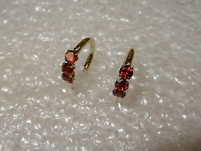*Vintage 14k SOLID YELLOW GOLD RED/BROWN GARNET ACCENTS EARRING SET JCM*********