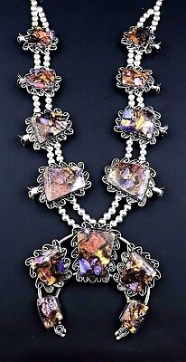 Silver and Sugilite Imperial Jasper Squash Blossom Necklace Navajo Signed *800