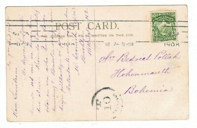 New Zealand 1908 Postcard Cover to Bohemia with Postage Due Nice Destination