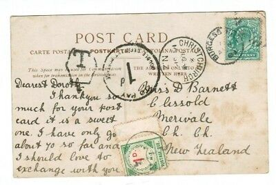 Burgess Hill GB to New Zealand 1904 Postcard Cover with 1d Postage Due Stamp