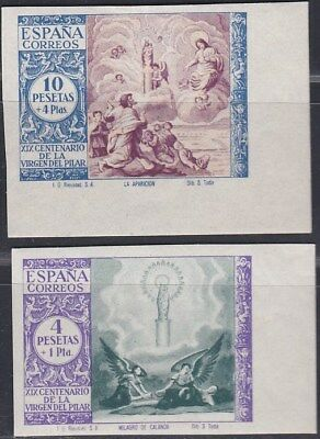 1940. *Edifil: 901/02ccs.VIRGEN DEL PILAR-COLOR CAMBIADO-SIN DENTAR. P. Cat:168€