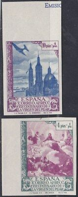 1940.*Edifil:912/13ccs.VIRGEN PILAR AEREO-COLOR CAMBIADO-SIN DENTAR. P. Cat:168€