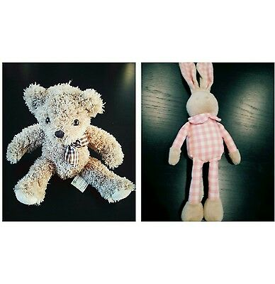 lot peluche 2 lapin Rose et teddy ours nounours neuf