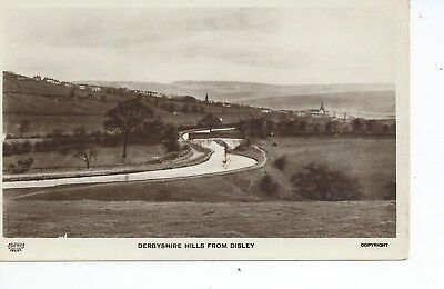 Real photo postcard of the Derbyshire hills and canal from Disley in vgc