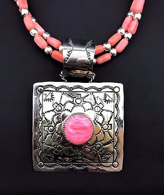 Silver and Pink Topaz Necklace/Pendant Coral Native American Navajo  Signed *783