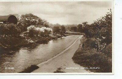 Real photo postcard of the Hartshay canal at Ripley Derbyshire in vgc