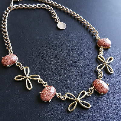 "Vintage 16"" Necklace Flower Leaf Autumn Goldstone Glitter Thermoset X233"