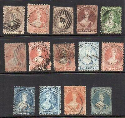 N.Z. 1855-73 Group of 14 Used Chalon Heads Bargain !! SPACEFILLERS  See Notes