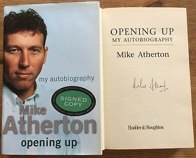 Mike Atherton Opening Up Hand Signed Autograph Hb Book England Cricket Captain